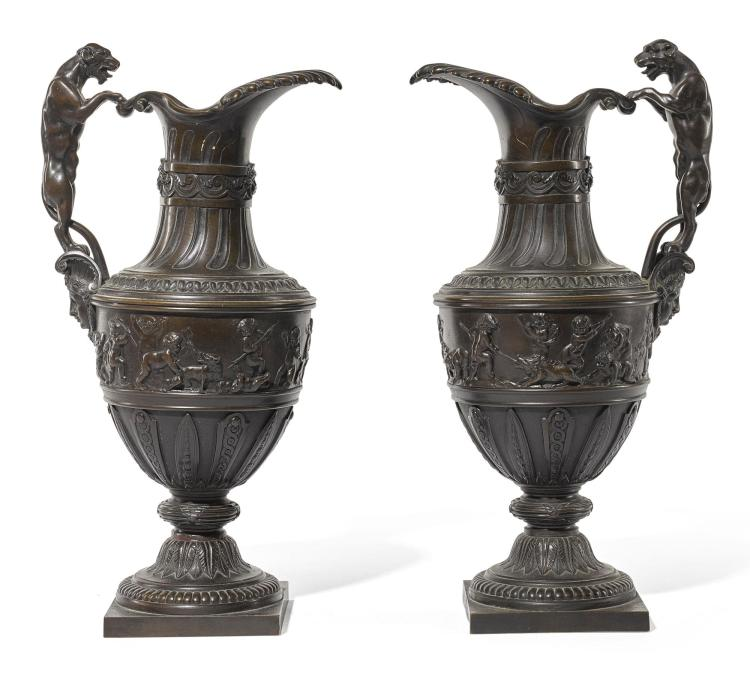 A PAIR OF REGENCY PATINATED BRONZE EWERS CIRCA 1800, IN THE MANNER OF NICOLAS DELAUNAY  