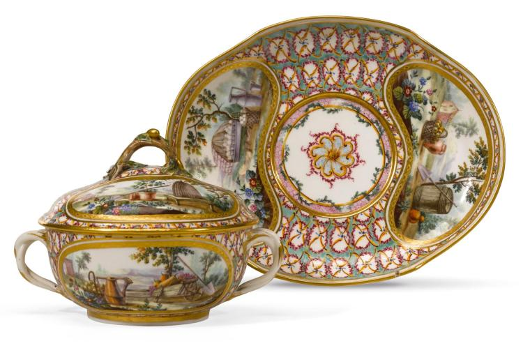 A SÈVRES TWO-HANDLED CIRCULAR ÉCUELLE, COVER AND STAND, THIRD QUARTER 18TH CENTURY |