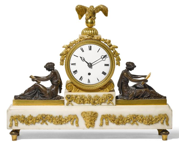 A REGENCY GILT AND PATINATED BRONZE AND WHITE MARBLE MANTEL TIMEPIECE, CIRCA 1815 |