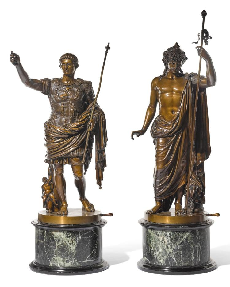 ITALIAN, CIRCA 1900<BR />AFTER THE ANTIQUE   Prima Porta Augustus and the Vatican Antinous