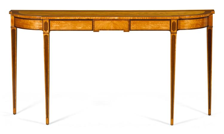 A GEORGE III ROSEWOOD BANDED SATINWOOD BREAKFRONT PIER TABLE, CIRCA 1780, IN THE MANNER OF GILLOWS |