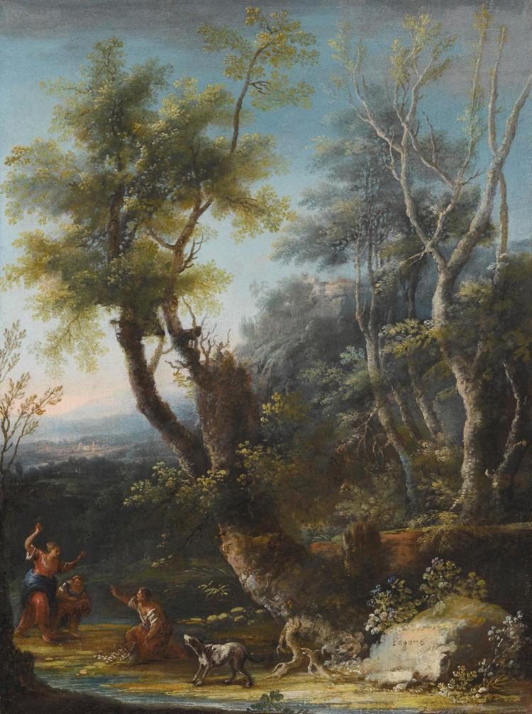 MICHELE PAGANO | Wooded landscape with figures and a dog in the foreground, a castle and city beyond