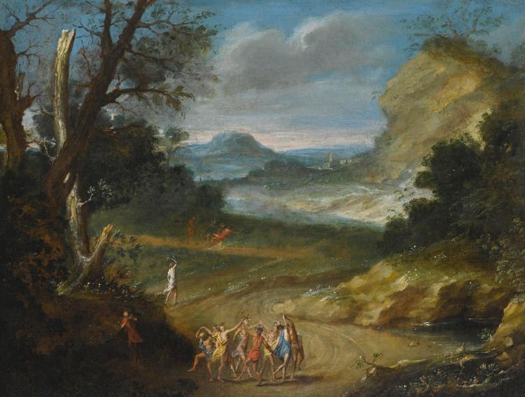 CIRCLE OF AELBERT MEYERINGH | Classical mountain landscape with figures dancing in the foreground