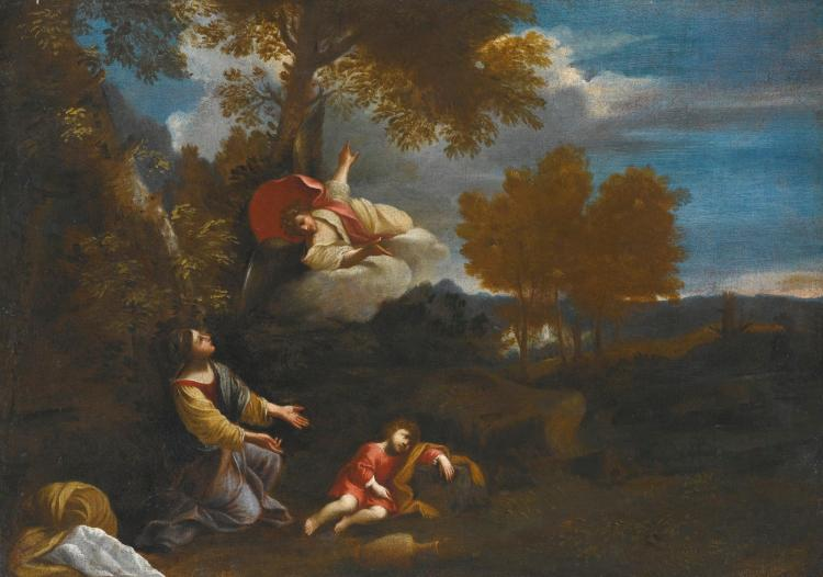 FOLLOWER OF PIER FRANCESCO MOLA | The Angel appearing to Hagar and Ishmael in a landscape