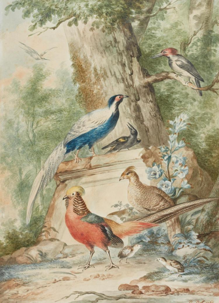 P. PIJL | Two watercolours depicting wildfowl and other birds in imaginary landscapes