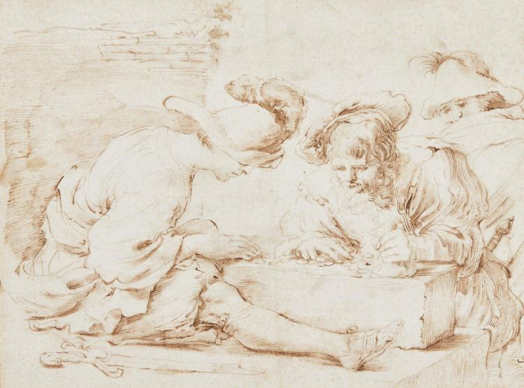 FOLLOWER OF GIOVANNI FRANCESCO BARBIERI, CALLED IL GUERCINO | Two men counting money, while another looks on