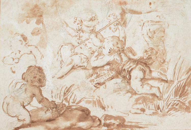 CLAUDE MICHEL DIT CLODION | Recto: Putti playing by a stream<br />Verso: Studies of putti