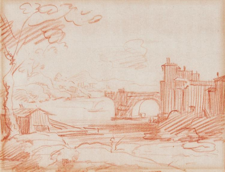 FRENCH SCHOOL, 17TH CENTURY | A riverscape with a walled city