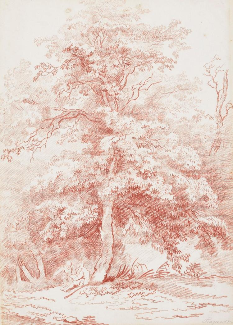 FRENCH SCHOOL, 18TH CENTURY | Landscape with two figures seated under a large tree