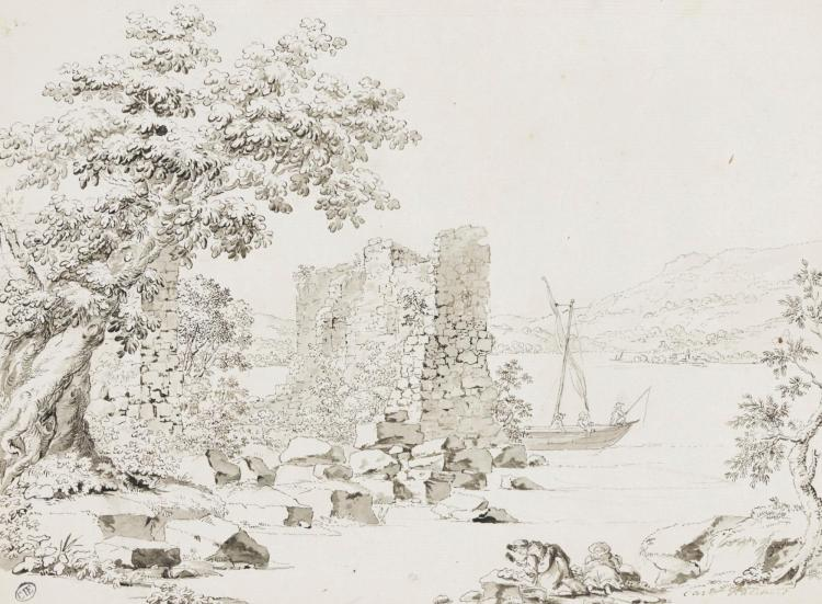 CARL LUDWIG HACKERT | Study of ruins by a shore, possibly Lake Geneva