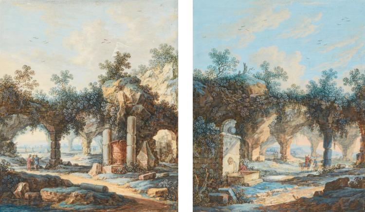 ATTRIBUTED TO FRANZ DE PAULA FERG | Two studies of ruins <p> </p>