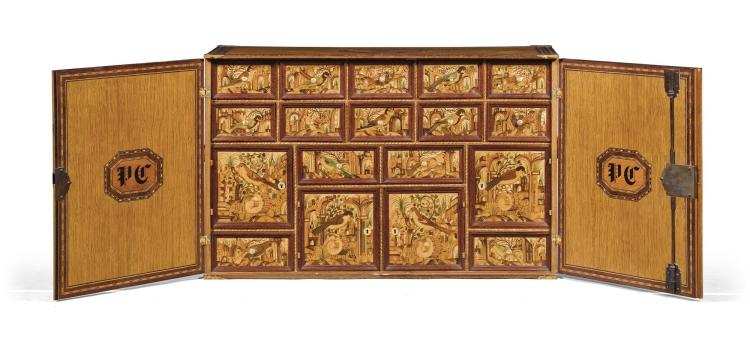 A SOUTH GERMAN GILT-BRONZE MOUNTED SYCAMORE AND FRUITWOOD MARQUETRY TABLE CABINET, EARLY 17TH CENTURY AND LATER  