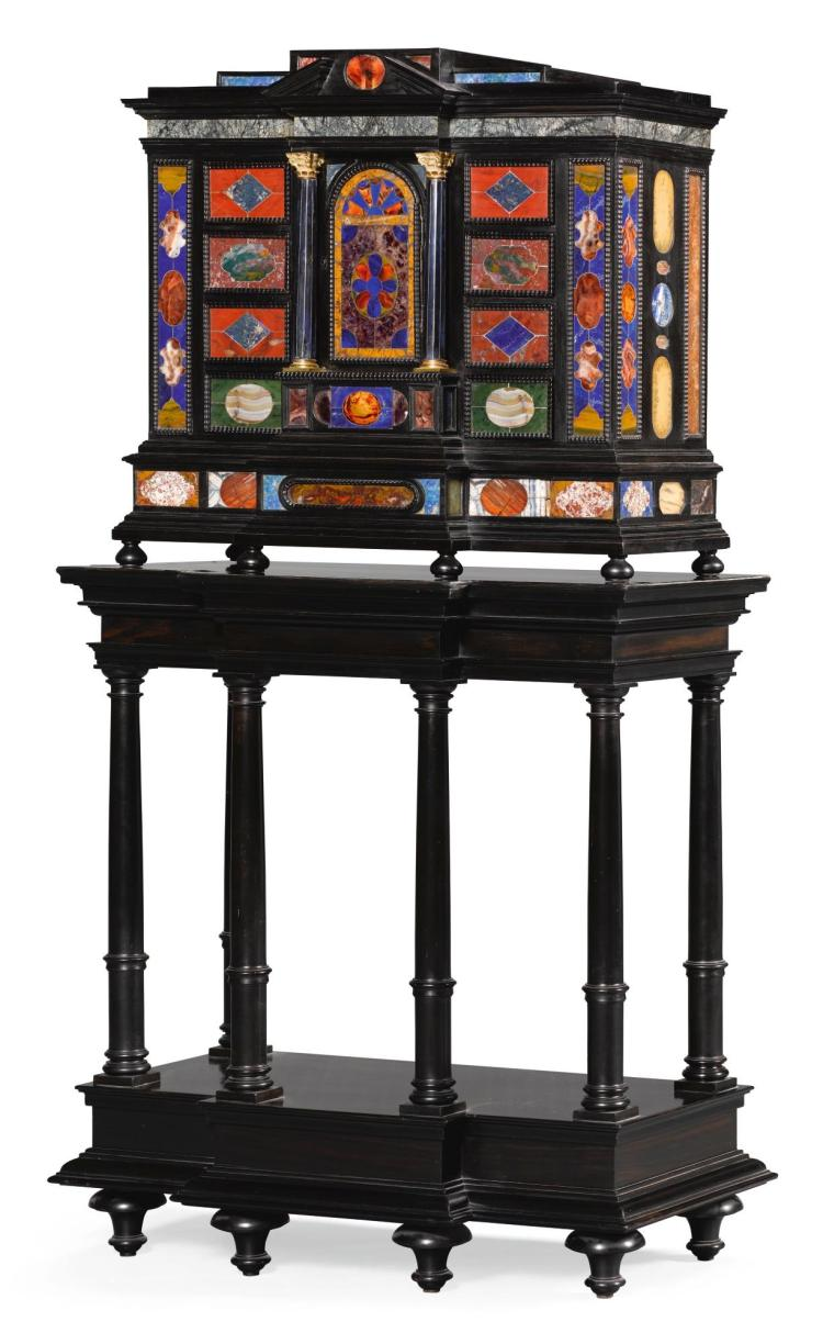 AN ITALIAN EBONY AND PIETRE DURE CABINET ON STAND  19TH CENTURY, INCORPORATING EARLIER PANELS |