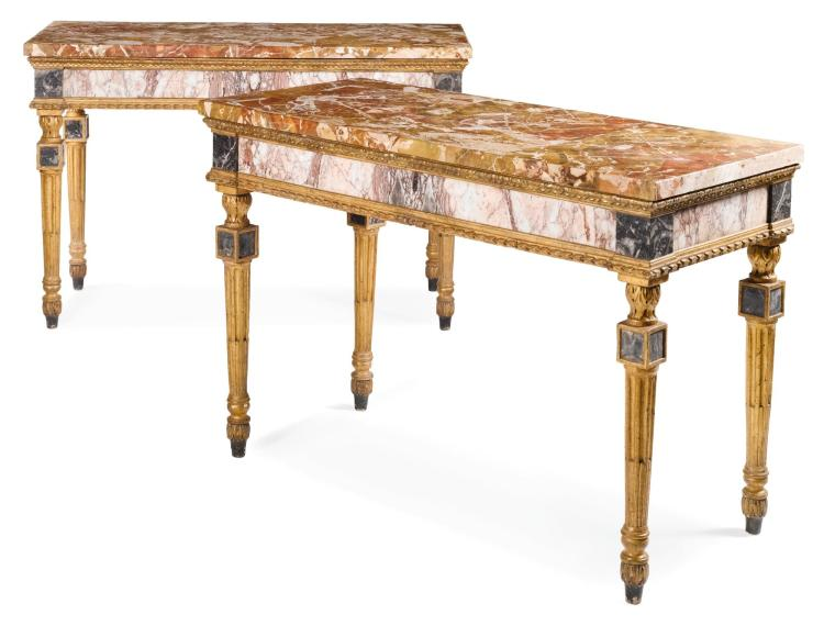 A PAIR OF ITALIAN MARBLE MOUNTED AND CARVED GILTWOOD CONSOLE TABLES, SICILY LATE 18TH CENTURY |