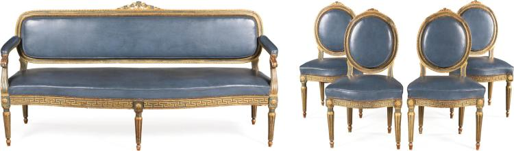 A SUITE OF ITALIAN BLUE LACQUERED AND CARVED GILTWOOD SEAT FURNITURE, PARMA CIRCA 1780 |