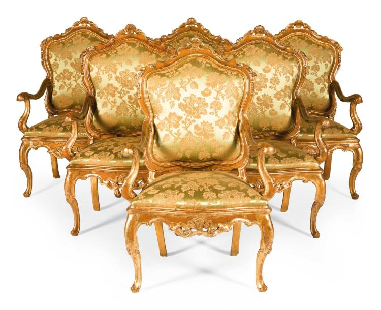 A SET OF SIX ITALIAN CARVED GILTWOOD AND PAINTED ARMCHAIRS, VENETIAN, MID-18TH CENTURY, ONEOF A LATER DATE |