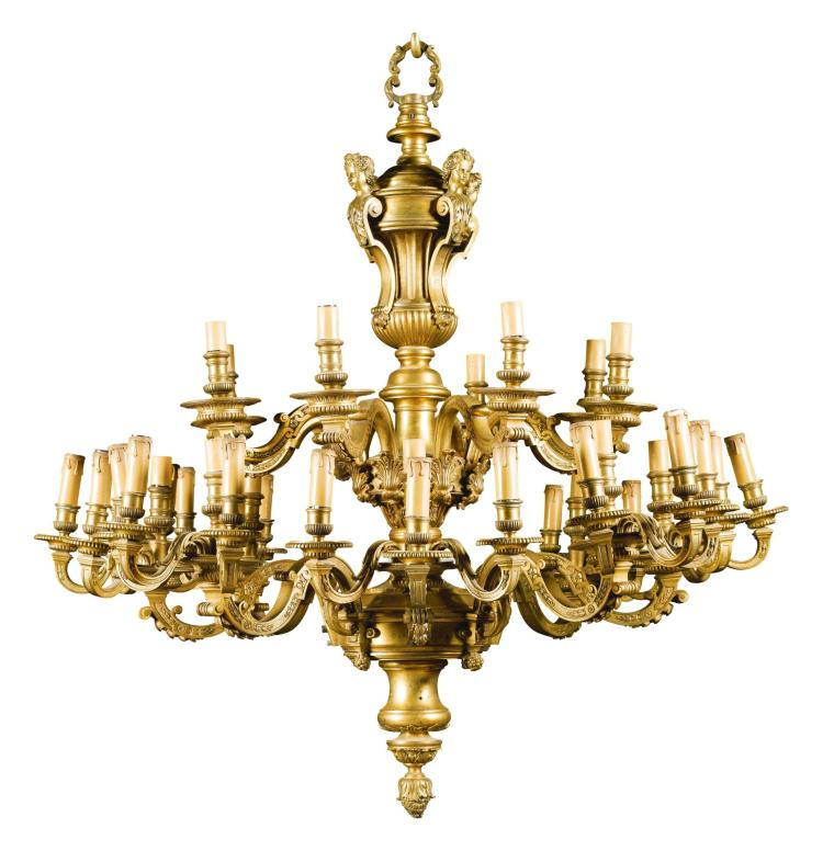 A RÉGENCE STYLE GILT-BRONZE FORTY LIGHT CHANDELIER, IN THE MANNER OF ANDRÉ-CHARLES BOULLE LATE 19TH/EARLY 20TH CENTURY  