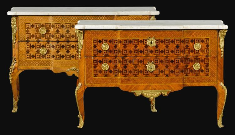 A MATCHED PAIR OF TRANSITIONAL GILT-BRONZE MOUNTED KINGWOOD, TULIPWOOD, AMARANTH AND SYCAMORE PARQUETRY AND MARQUETRY COMMODES BY LÉONARD BOUDIN, CIRCA 1770 |