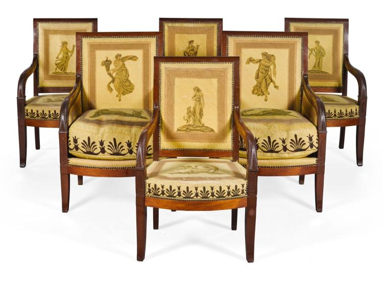 A SUITE OF EMPIRE CARVED MAHOGANY SEAT FURNITURE CIRCA 1820 |