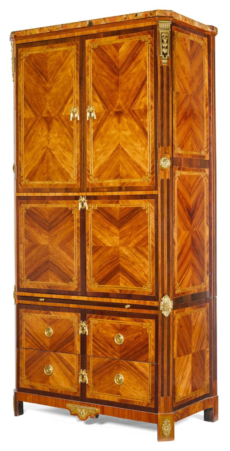 A LOUIS XVI GILT-BRONZE MOUNTED KINGWOOD, TULIPWOOD, AMARANTH ARMOIRE-SECRÉTAIRE CIRCA 1765 |