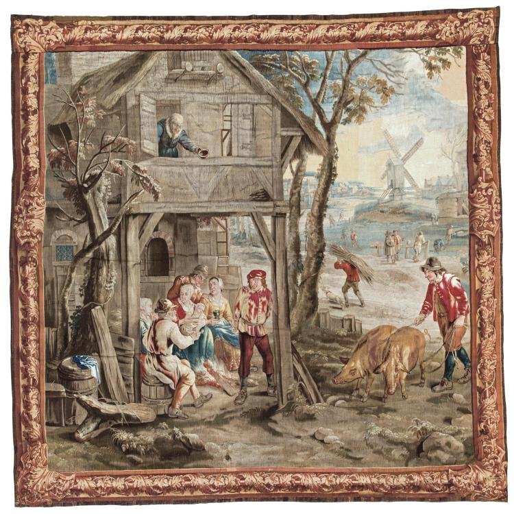 WINTER SCENE, A FLEMISH TENIERS TAPESTRY, BRUSSELS WORKSHOP OF VAN DER BORGHT FIRST HALF 18TH CENTURY |