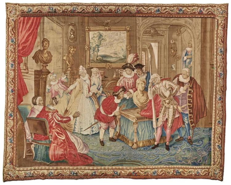 A LOUIS XV LITERARY TAPESTRY, AUBUSSON, FROM THE STORY OF DON QUIXOTE, DEPICTING 'THE ENCHANTED HEAD AT THE HOUSE OF DON ANTONIO', AFTER CHARLES-ANTOINE COYPEL, POSSIBLY WORKSHOP OF PIERRE MAGE MID 18TH CENTURY |