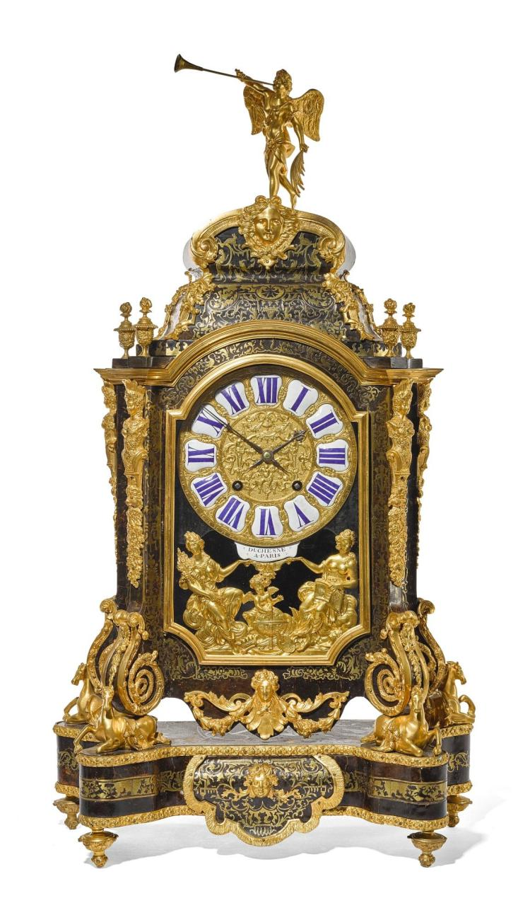 A LOUIS XIV ORMOLU MOUNTED TORTOISESHELL AND BRASS BOULLE-INLAID TABLE CLOCK, PIERRE DU CHESNE, PARIS, CIRCA 1705 |