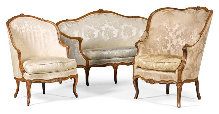 A LOUIS XV SUITE OF CARVED WALNUT SEAT FURNITURE CIRCA 1760 |
