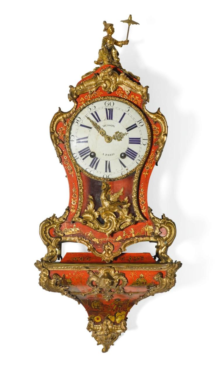 A LOUIS XV SMALL ORMOLU-MOUNTED RED JAPANNED BRACKET CLOCK, PIERRE MUSSON, PARIS, CIRCA 1750 |