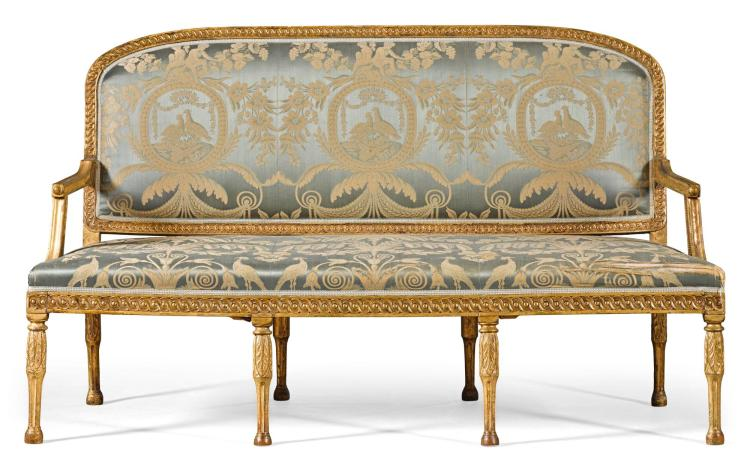 A NORTH GERMAN CARVED GILTWOOD SOFA LATE 18TH CENTURY |