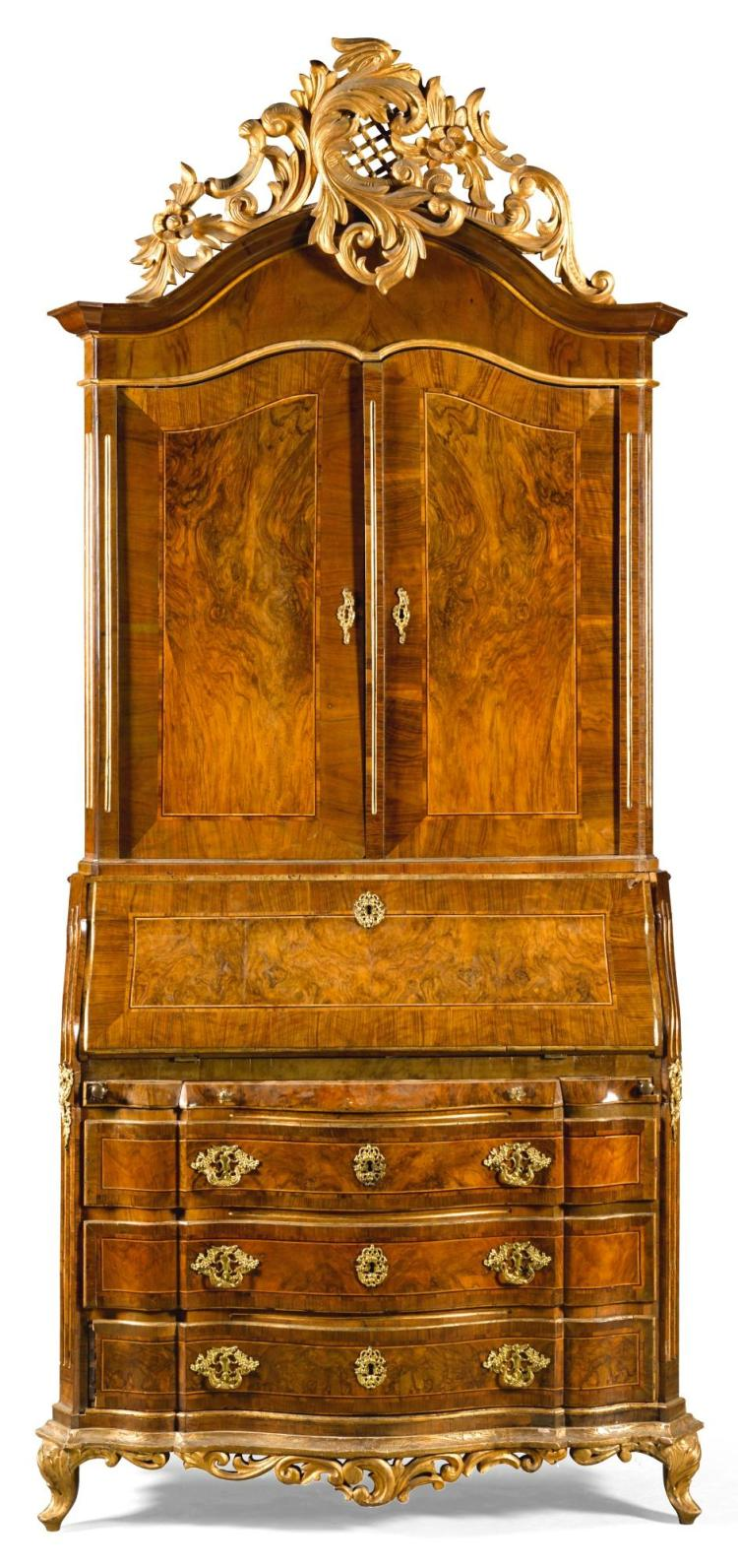 A DANISH ROCOCO GILT-BRONZE MOUNTED PARCEL-GILT WALNUT BUREAU-CABINET MID 18TH CENTURY, PROBABLY SCHLESWIG HOLSTEIN |