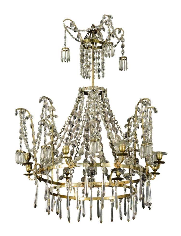 A GERMAN OR BALTIC NEOCLASSICAL GILT-BRASS AND CUT GLASS EIGHT-LIGHT CHANDELIER EARLY 19TH CENTURY |