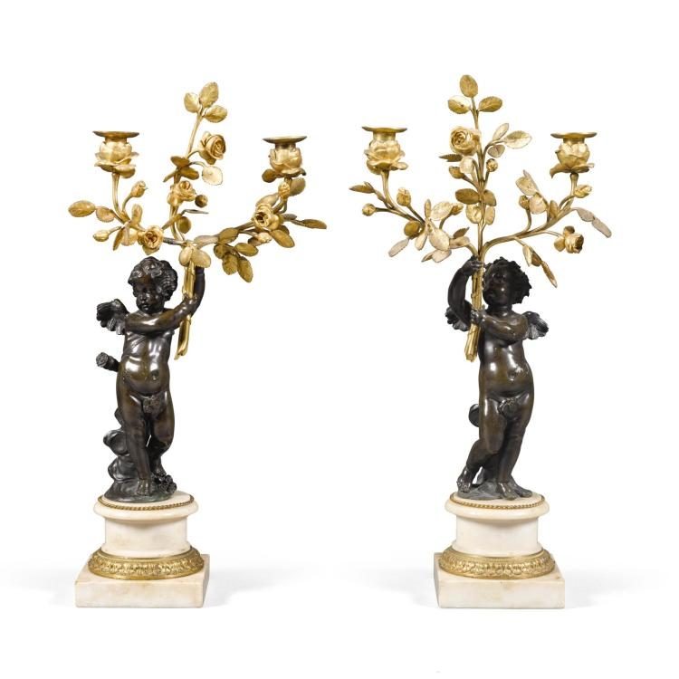 A PAIR OF LOUIS XVI GILT AND PATINATED BRONZE THREE-LIGHT CANDELABRA LATE 18TH CENTURY |