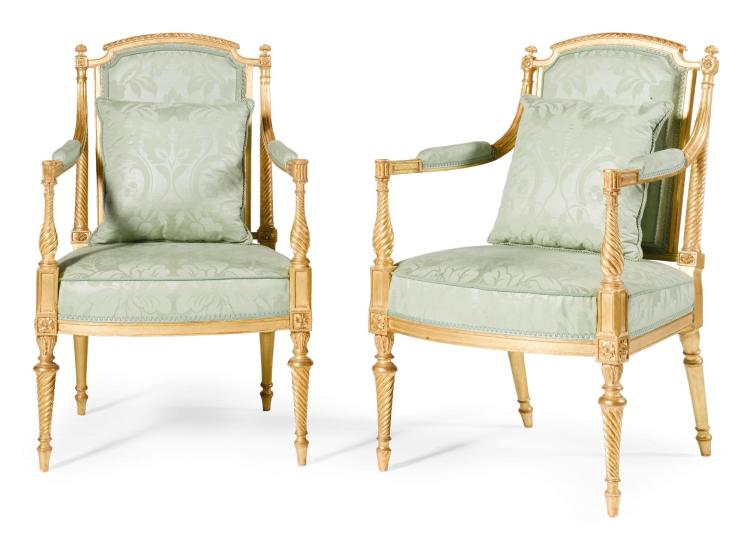 A PAIR OF GEORGE III GILTWOOD ARMCHAIRS, CIRCA 1780, ATTRIBUTED TO B. HARMER |