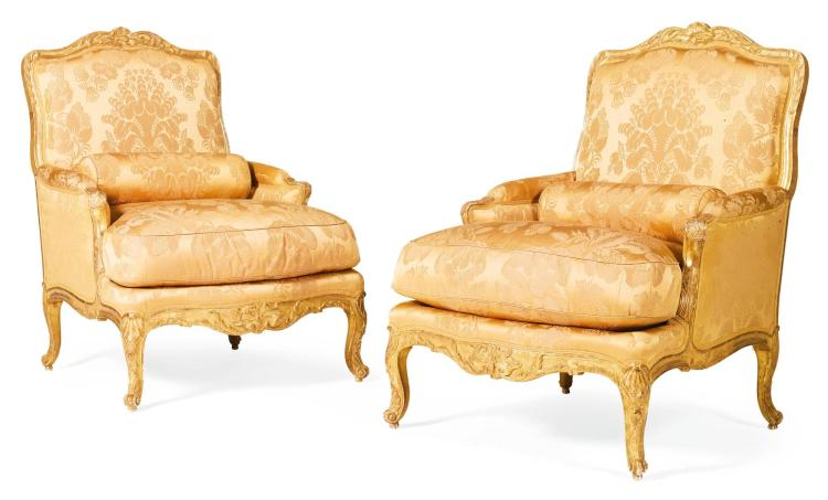 A PAIR OF LOUIS XV CARVED GILTWOOD BERGÈRES BY LOUIS CRESSON CIRCA 1740 |