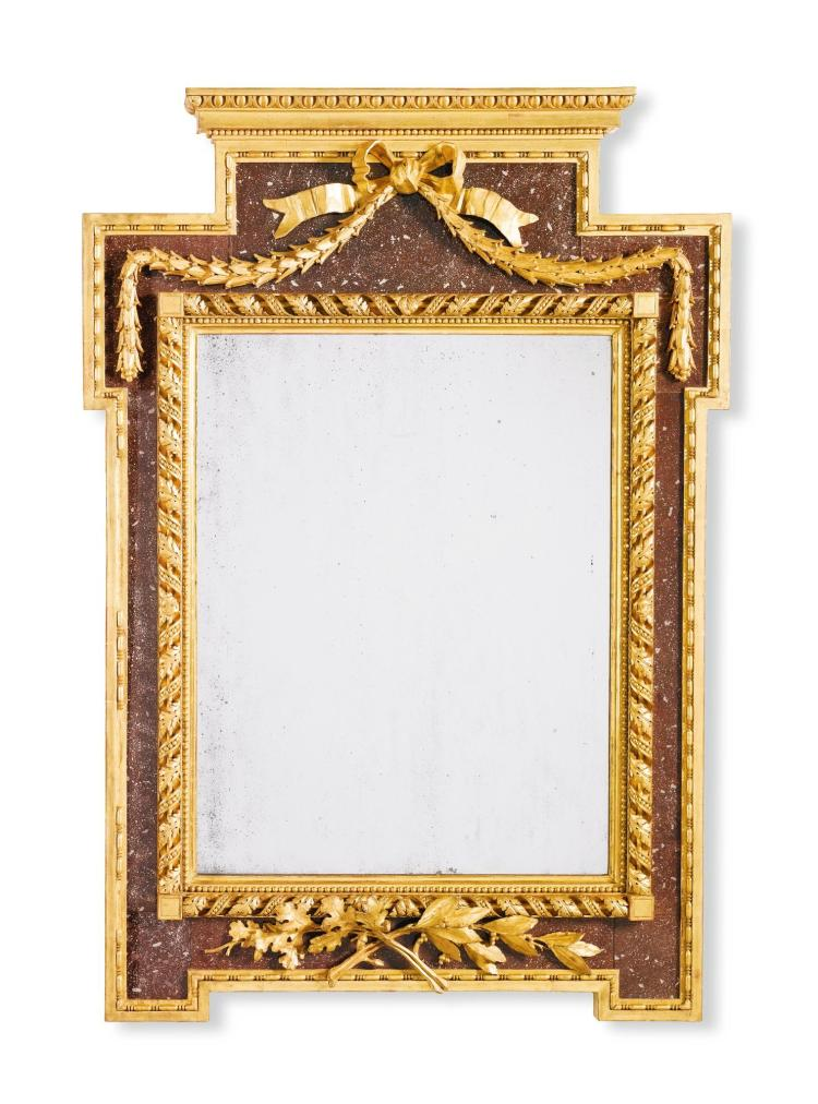 A SWEDISH SIMULATED PORPHYRY VERRE ÉGLOMISÉ AND CARVED GILTWOOD NEO-CLASSICAL MIRROR GUSTAVIAN, LATE 18TH CENTURY |