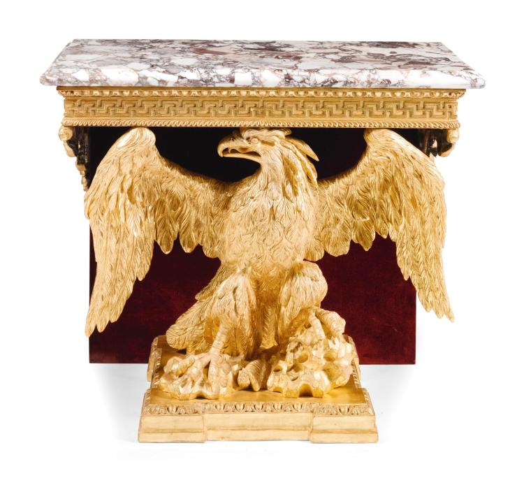 A GEORGE II STYLE GILTWOOD EAGLE-FORM CONSOLE TABLE, PARTS EARLY 18TH CENTURY |