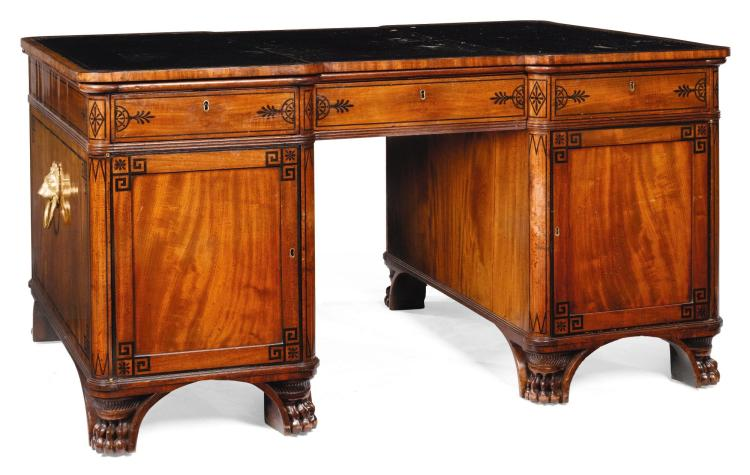 A REGENCY GILT-BRASS MOUNTED EBONY-INLAID MAHOGANY PEDESTAL DESK, CIRCA 1810, IN THE MANNER OF THOMAS HOPE |