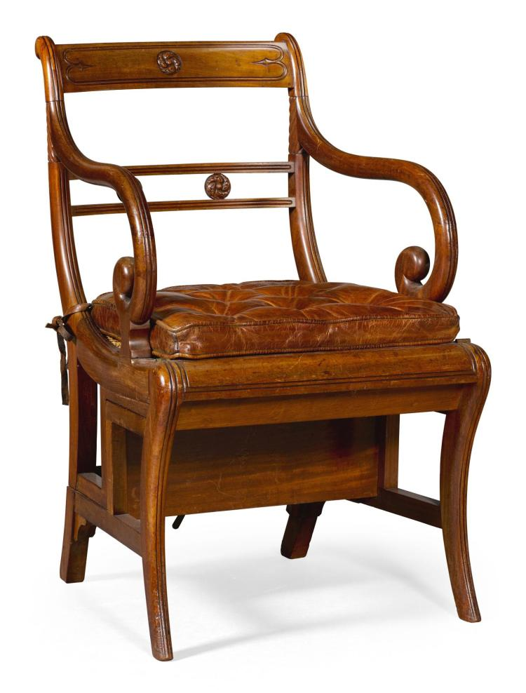 A REGENCY MAHOGANY METAMORPHIC LIBRARY CHAIR, CIRCA 1815, AFTER A DESIGN BY MORGAN AND SAUNDERS |