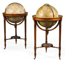 A PAIR OF 18 INCHTERRESTRIAL AND CELESTIAL GLOBES BY W. &. T. M. BARDIN, DATED 1815 |