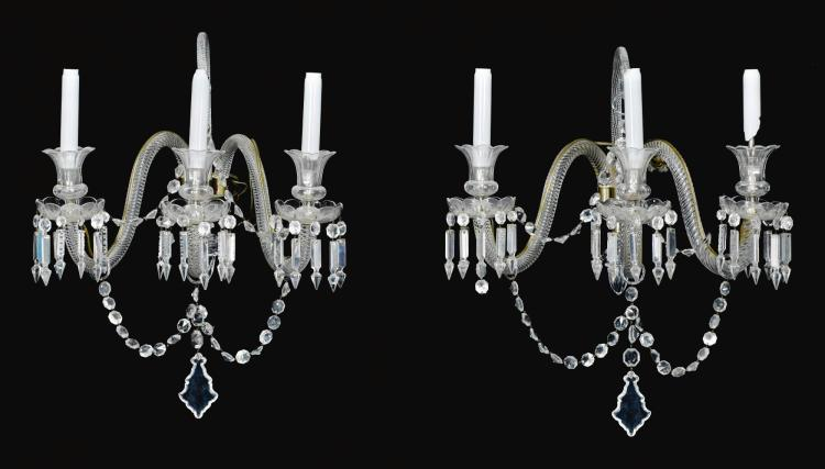 A PAIR OF LATE VICTORIAN CUT GLASS THREE-BRANCH WALL-LIGHTS, LATE 19TH CENTURY, ATTRIBUTED TO F. & C. OSLER, BIRMINGHAM |