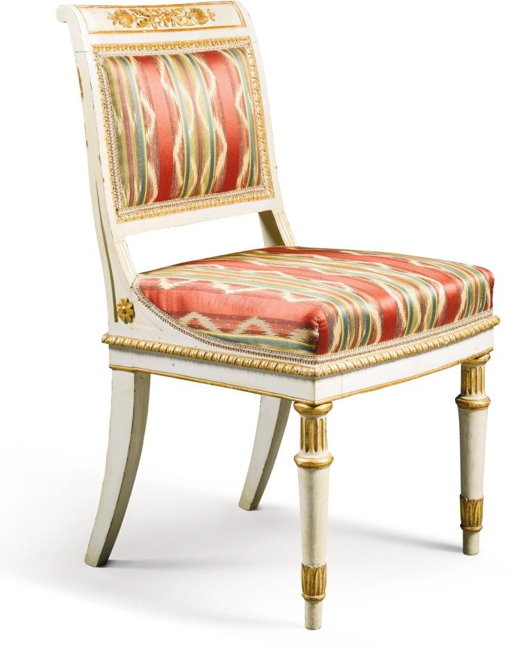 A SET OF EIGHT ITALIAN IVORY PAINTED AND PARCEL-GILT CARVED CHAIRS, MILAN CIRCA 1820 |