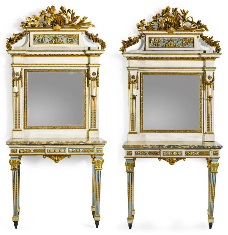 A PAIR OF ITALIAN PALE BLUE AND IVORY LACQUERED AND CARVED GILTWOOD MIRRORS AND CONSOLE TABLES THE MIRRORS PIEDMONTESE, LATE 18TH CENTURY, THE CONSOLE TABLES IN NEO-CLASSICAL STYLE |