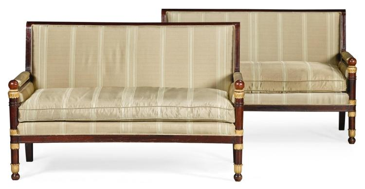 A PAIR OF EMPIRE STYLE GILT-BRONZE MOUNTED MAHOGANY SOFAS LATE 19TH CENTURY |