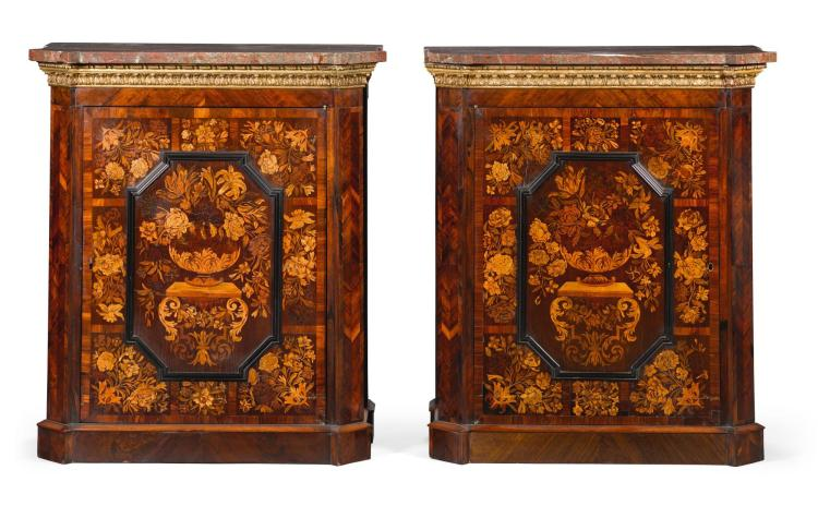 A PAIR OF PARCEL-GILT ROSEWOOD PARQUETRY AND MARQUETRY MEUBLES D'APPUI 19TH CENTURY, INCORPORATING LOUIS XIV PANELS |