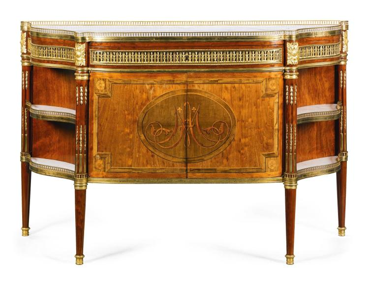 A LOUIS XVI STYLE FRUITWOOD, EBONY AND AMARANTH VENEERED PLUM MAHOGANY AND MAHOGANY COMMODE À L'ANGLAISE,<BR /><BR />  LATE 19TH CENTURY |