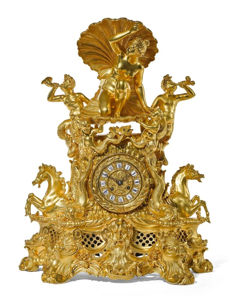 A LOUIS XV-STYLE GILT-BRONZE MANTEL CLOCK, FRENCH, CIRCA 1850 |