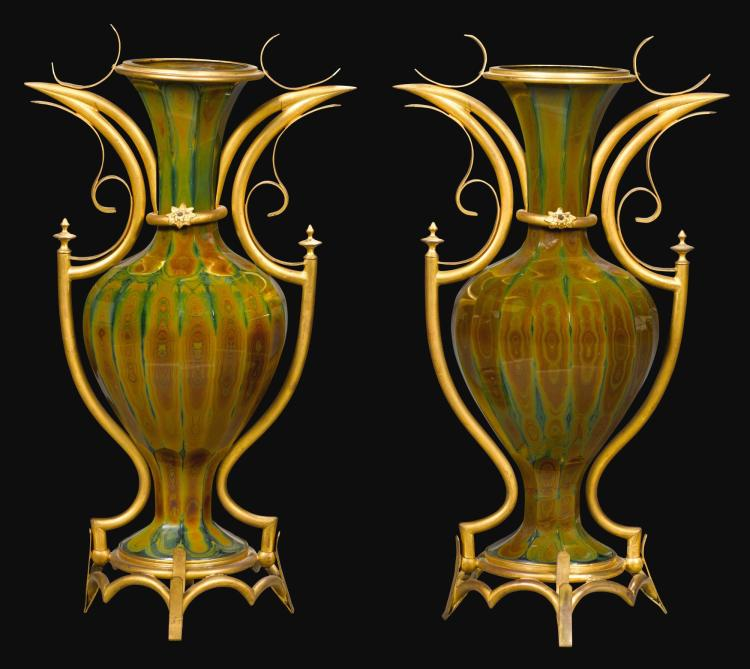 A PAIR OF NAPOLEON III GILT-BRASS MOUNTED LITHYALIN GLASS VASES CIRCA 1870  