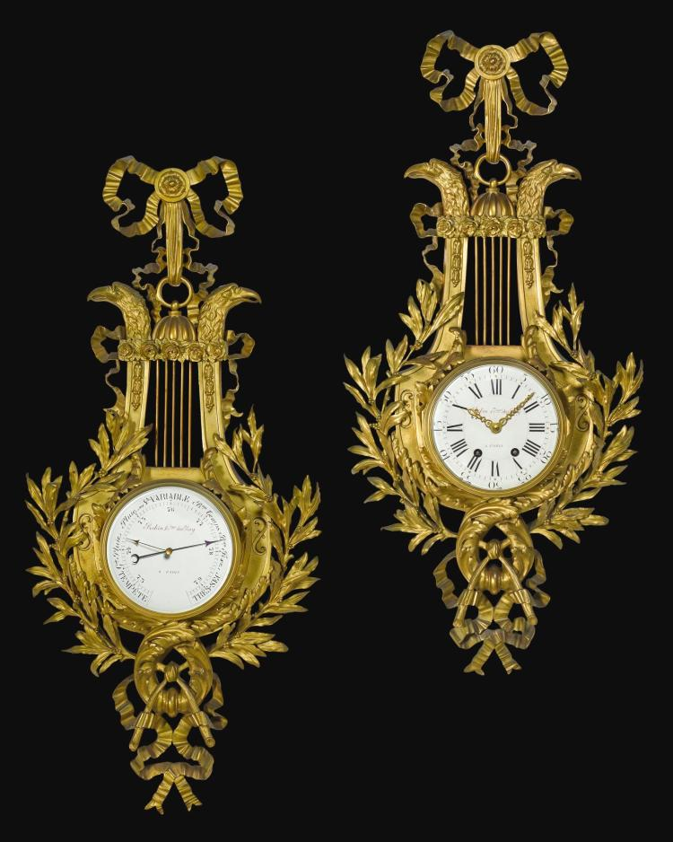 A LOUIS XVI-STYLE GILT-BRONZE WALL CLOCK AND MATCHING BAROMETER, CIRCA 1890 |