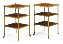 A PAIR OF REGENCY STYLE GILT-BRASS MOUNTED KINGWOOD THREE-TIER ÉTAGÈRES, LATE 19TH CENTURY/EARLY 20TH CENTURY |